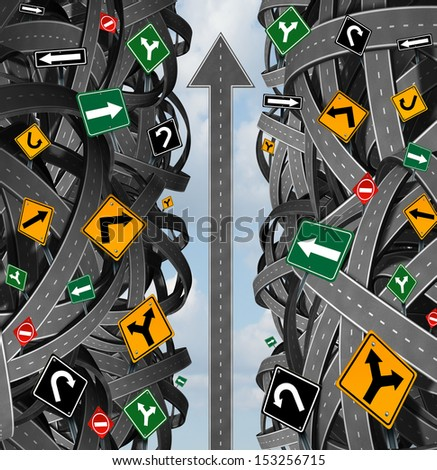 Success focus and clear strategy for solutions in business leadership with a straight upward path to choosing the right strategic plan with confusing traffic signs cutting through a maze of highways. - stock photo