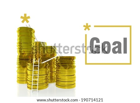 Success goal concept, ladders on gold coins - stock photo
