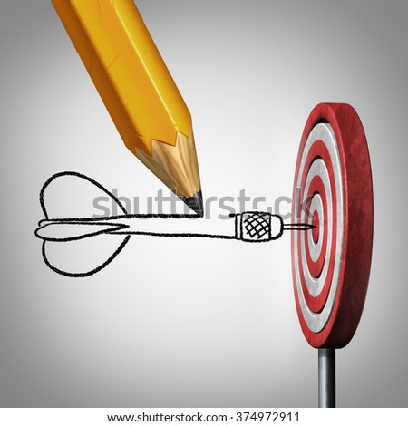 Success goal planning business concept as a pencil drawing a dart hitting the center of a target on a dartboard as a metaphor for controlling your destiny by creating a plan and visualization. - stock photo