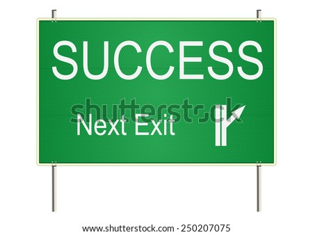 Success. Green traffic sign on a white background. Raster - stock photo