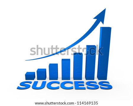 Success growth graph chart, isolated on white background. - stock photo