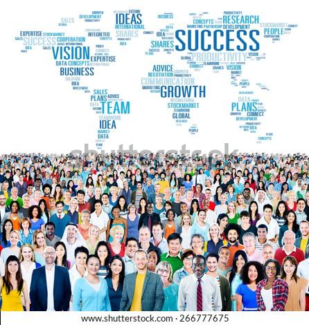 Success Growth Vision Ideas Team Business Plans Connect Concept - stock photo