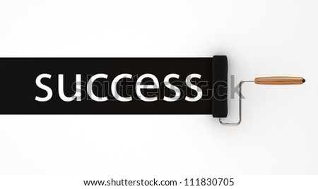Success in Black Roller Painter - Isolated on White Background