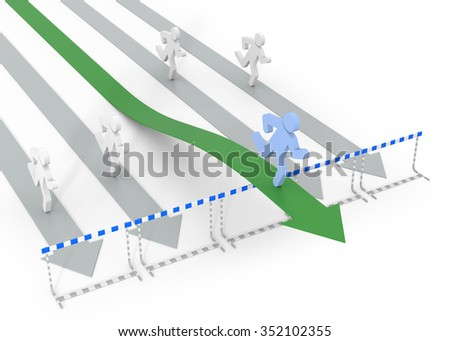 Success in business with legal movement - conceptual 3D image with arrow and obstacles - stock photo