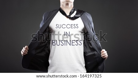 Success in business with young successful businessman creative concept - stock photo