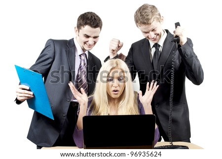 success in the work of colleagues in front of a laptop - stock photo