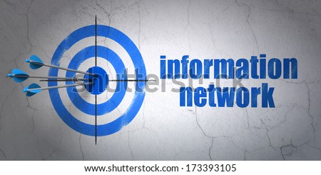 Success Information concept: arrows hitting the center of target, Blue Information Network on wall background, 3d render - stock photo