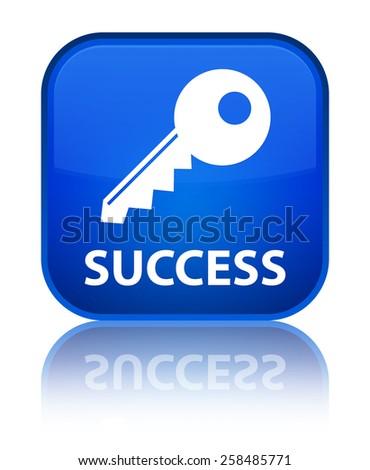 Success (key icon) blue square button - stock photo