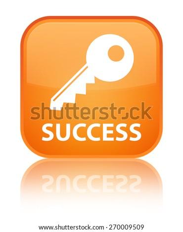 Success (key icon) orange square button - stock photo