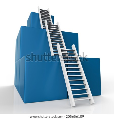 Success Ladder Showing Successful Resolution And Winning - stock photo