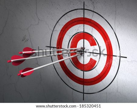 Success law concept: arrows hitting the center of Red Copyright target on wall background, 3d render - stock photo