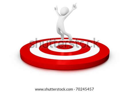 Success! Man jumping over a target - stock photo