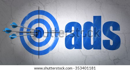 Success marketing concept: arrows hitting the center of target, Blue Ads on wall background - stock photo