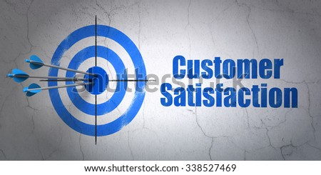 Success marketing concept: arrows hitting the center of target, Blue Customer Satisfaction on wall background - stock photo