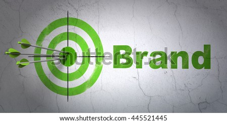 Success marketing concept: arrows hitting the center of target, Green Brand on wall background, 3D rendering - stock photo