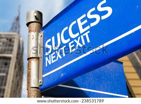 Success Next Exit blue road sign - stock photo