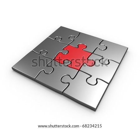 Success of business puzzles completed 3d illustration - stock photo