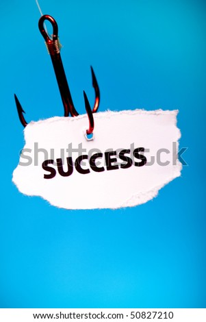 Success of paper pierced in hook - stock photo