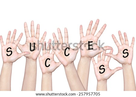 Success of team work - people raising hands - stock photo