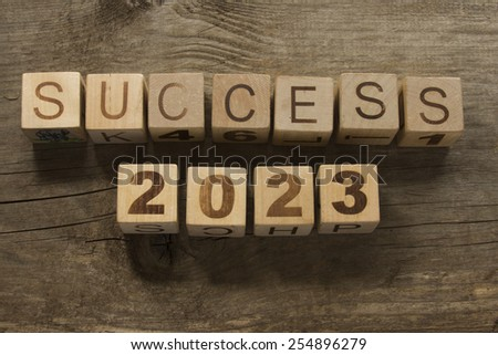 success 2023 on a wooden background - stock photo