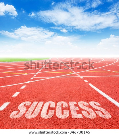Success on red racing track with blue sky. 2016 Goals concept.