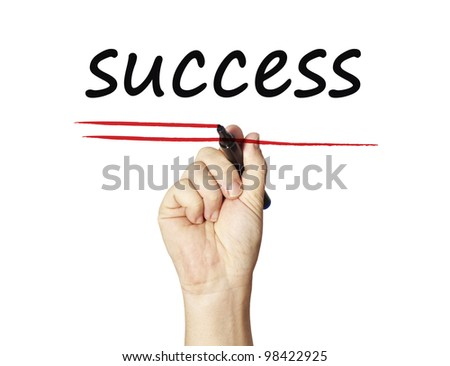 Success  on whiteboard - stock photo