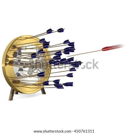 Success - One of many Arrows hits the Euro Coin Center - 3d-Illustration - stock photo