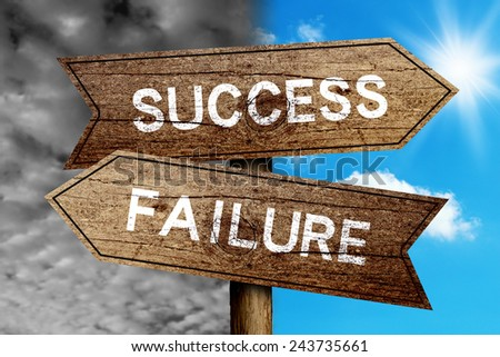 Success Or Failure concept road sign with cloudy and sunny sky background. - stock photo