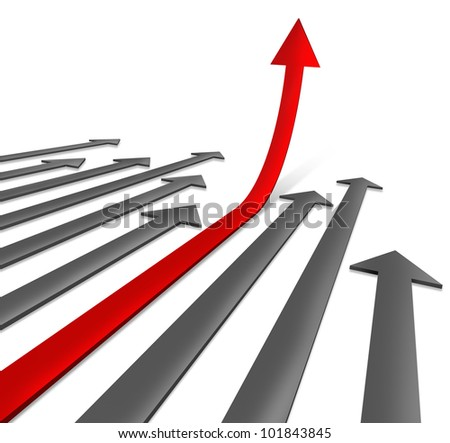 Success path to growth rising to the top as a direct road to financial wealth as a the sky is the limit symbol with grey arrows and a special chosen red one pointing upward to a successful business. - stock photo
