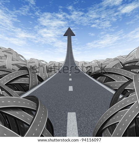 Success path with a road to financial rise to the top and moving up and breaking free from the confusion of tangled roads with a clear escape leading to a straight arrow to wealth and opportunity. - stock photo