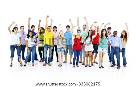 Success People Youth Culture Together Students Cheerful Concept - stock photo