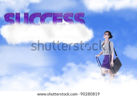 Success photo concept: businesswoman climbing ladder to the sky