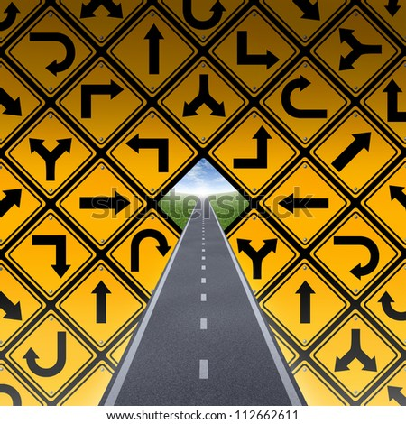 Success plan and breaking through the confusion as a wall made of a group of yellow street direction signs in a confused arrangement and a road or highway going to a blue sky finding a solution. - stock photo