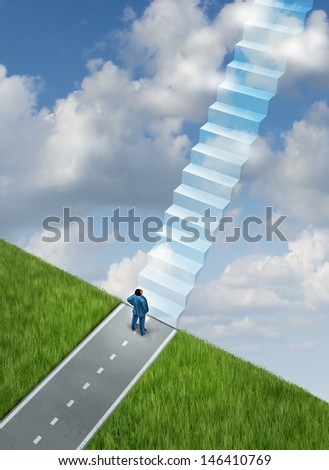 Success plan business concept with a businessman at the end of the road on the edge of a cliff with vision and leadership skills to imagine the future path of opportunity as a staircase to heaven.
