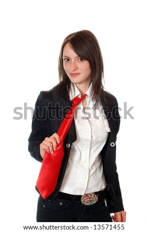 success pretty young business woman with red tie