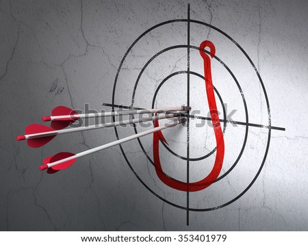 Success privacy concept: arrows hitting the center of Red Fishing Hook target on wall background - stock photo