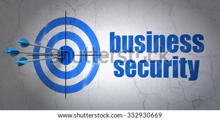 Success privacy concept: arrows hitting the center of target, Blue Business Security on wall background - stock photo