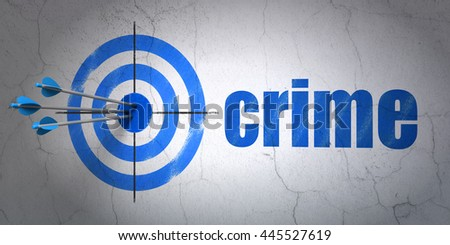Success privacy concept: arrows hitting the center of target, Blue Crime on wall background, 3D rendering - stock photo