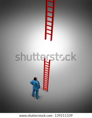 Success problems and facing a bad break or tough luck as a business concept with a broken red ladder with a business person looking for a solution to the difficult challenge ahead. - stock photo
