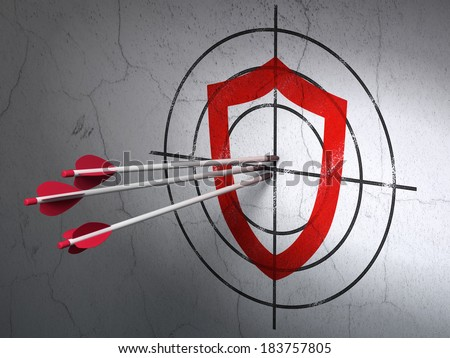 Success protection concept: arrows hitting the center of Red Contoured Shield target on wall background, 3d render - stock photo