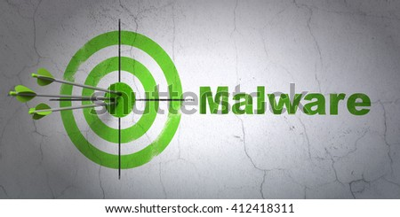 Success protection concept: arrows hitting the center of target, Green Malware on wall background, 3D rendering - stock photo