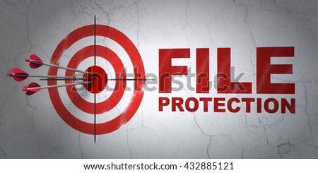 Success protection concept: arrows hitting the center of target, Red File Protection on wall background, 3D rendering - stock photo