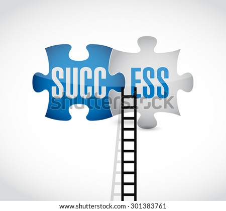 success puzzle pieces and ladder concept illustration design over white