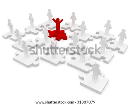 success puzzles - stock photo