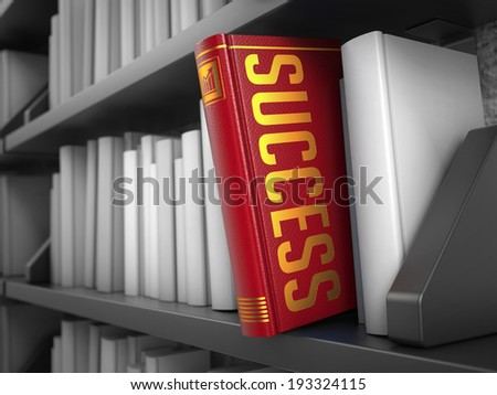 Success - Red Book on the Black Bookshelf between white ones. Internet Concept. - stock photo
