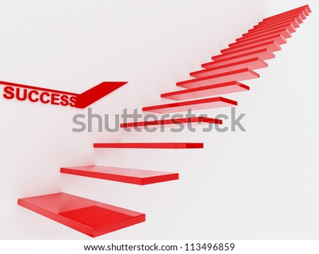 Success Red Staircase - stock photo