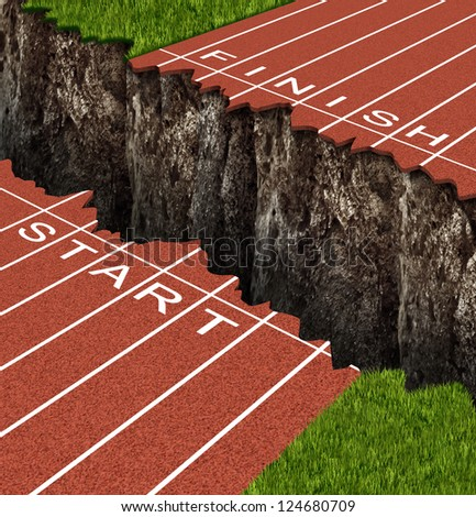 Success Risk and conquering adversity in reaching your goals as a business concept on a track and field race track with start and finish lines separated by a deep and dangerous rock cliff. - stock photo