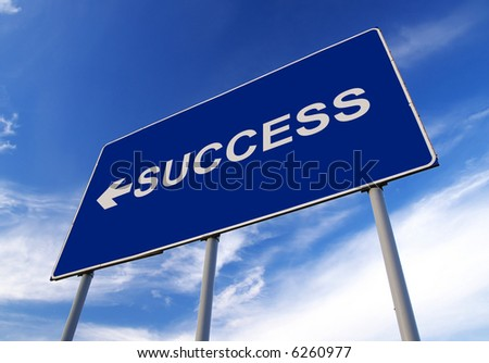 Success road sign and cloudy sky - stock photo