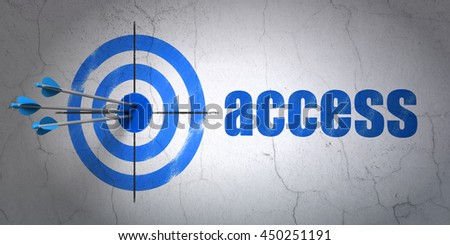 Success safety concept: arrows hitting the center of target, Blue Access on wall background, 3D rendering - stock photo