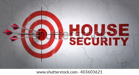 Success safety concept: arrows hitting the center of target, Red House Security on wall background, 3D rendering - stock photo